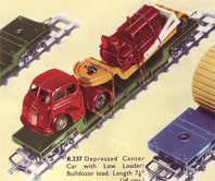 Depressed Center Car With Low Loader Bulldozer Load