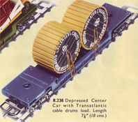 Depressed Center Car With Transatlantic Cable Drums Load