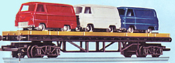 Bogie Bolster Wagon with 3 Minix Ford Vans