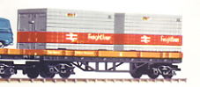 Bogie Flat Car with Two 20 Ft Freightliner Containers