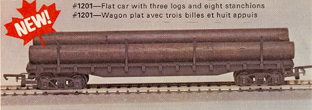 Flat Car With Three Logs And Eight Stanchions (Canada)
