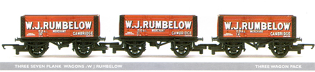 W J Rumbelow 7 Plank Wagon - Three Wagon Set