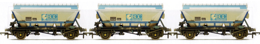 ECC 2 Axle China Clay Hoppers (CDA) - Three Wagon Pack (Weathered)